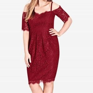 City Chic Red Amour Lace Dress